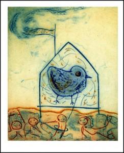 Talleen Hacikyan.  Lifesaver, collagraphy, 38 x 28 cm, 2005.