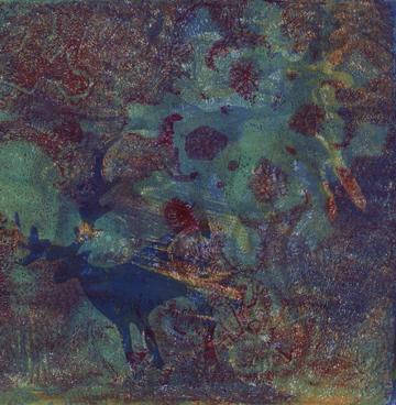 Talleen Hacikyan, Blue Flake, Gelli monotype, 2014.