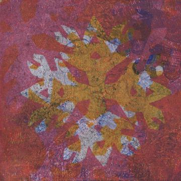 Talleen Hacikyan, Paper Flake, Gelli monotype, 2014.
