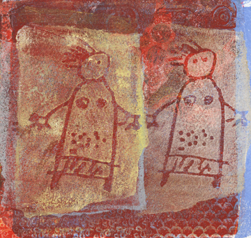 Talleen Hacikyan, Two Girls, Gelli monotype, 2014