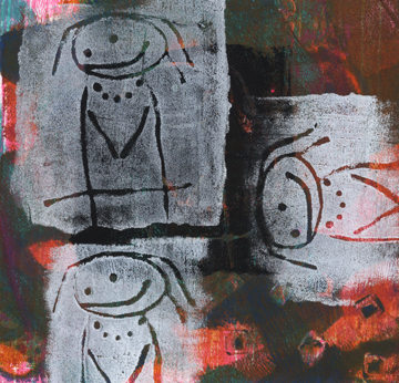 Talleen Hacikyan, Three Girls, Gelli monotype, 2014