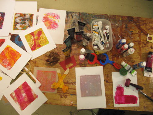 Gelli plate with work in progress.