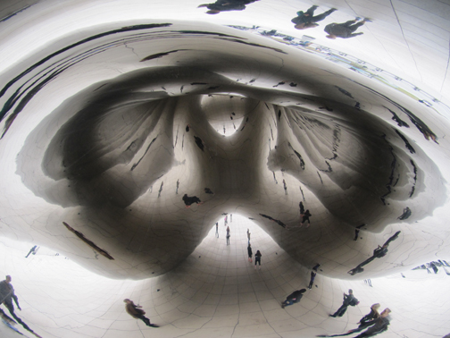 Inside dome of Cloud Gate.